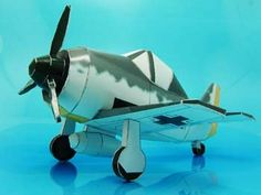 The FW-190 card model made for the desktop, but it could be made in lightweight, thin foam board with a larger rudder to fly as an RC model airplane.