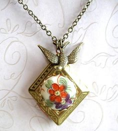 Vintage Floral Locket Necklace with Bird Charm by Botanical Bird on Scoutmob Shoppe
