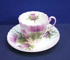 Shelley Fine Bone China THISTLE Cup and + Saucer Set Pink Trim Demi Size