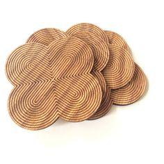 Wood coaster, wooden coaster, wood coaster set, wood coasters, housewarming gift, wedding favor, drink coaster, tableware, wood art