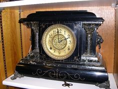 Antique Black Mantel Clock