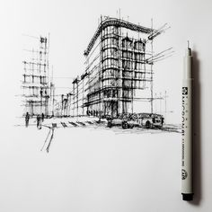 Street corner, unfinished... #sketch #cityscape #drawing #perspective | by Dan Hogman