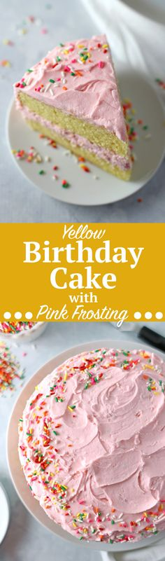 Yellow Birthday Cake with Fluffy Pink Frosting. Birthday celebrations (including my own!) call for this classic homemade Yellow Birthday Cake with Fluffy Pink Frosting recipe! Just five steps for a yellow layered cake and three steps for the fluffiest frosting, the perfect amount to frost this double-layered cake! Click through for the full recipe | SeasonlyCreations.com | @SeasonlyBlog