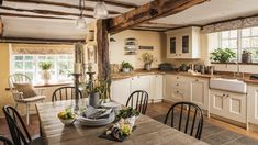 To expand the kitchen take down partition wall add beam for support instead. interiors Enjoy boutique luxury at Apple Blossom House - Exeter. Country Cottage Interiors, Country House Interior, Rustic Cottage, Farmhouse Interior, Kitchen Interior, Country Decor, Country Cottages, Country Cottage Decorating, Bedroom Country