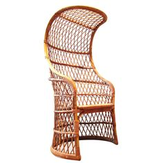 1960's Italian Woven Wicker and Rattan Canopy Chair