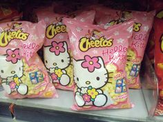 Hello Kitty cheetos, too cute! Japanese Snacks, Japanese Food, Japanese Candy, Snacks Japonais, Pink Foods, Aesthetic Food, Cute Food, Wall Collage, Pastel Pink