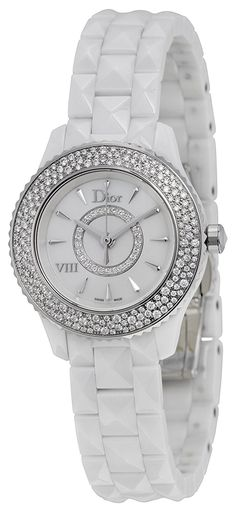 Christian Dior VIII Mother of Pearl White Hi Tech Ceramic Diamond Ladies Watch CD1221E4C001 ** Check out the watch by visiting the link.
