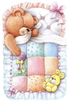 Baby Bear with a Quilt