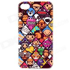 Cartoon Animals Pattern Protective PC Back Case for Iphone 4 / 4S - Purple + Brown + White