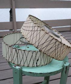 Two Vintage Fiberglass Lamp Shade Mid Century by cookiecuttercat