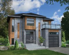 This splendid urban two-storey house stands out with its unique architecture, its brick and wood facing and its glass terrace above the garage. The house is 36 feet 5 inches wide by 38 feet deep, provides square feet of living space along with a 272 Modern Bungalow House, Modern House Design, Room Above Garage, High Ceiling Living Room, L Shaped House, 2 Storey House, Brick And Wood, Modern Architects, Unique Architecture