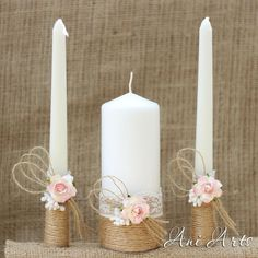 Rustic Wedding Set Unity Candles and Champagne glasses por AniArts