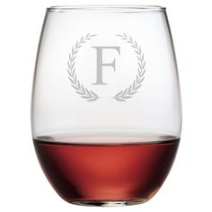 Susquehanna Glass Wreath Monogram 21oz Stemless Wine Glass Set of 4 - A-Z, Clear