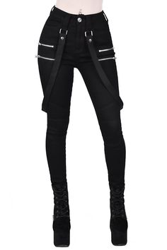 The 'Warfare' jeans come in soft-stretch denim, for superior comfort and fit - with five pocket styling, belt loops, zip accent, and detachable bondage straps. With skinny-fit leg with a Gothic Outfits, Grunge Outfits, Hipster Outfits, Teen Fashion Outfits, Girl Outfits, Emo Fashion, Rock Outfits, Lolita Fashion, Latex Fashion