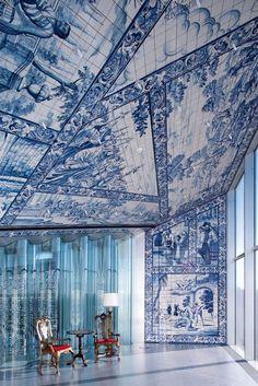 blue and white ceramics - Casa Da Musica by Rem Koolhaas - Porto Portugal Spain And Portugal, Portugal Travel, Rem Koolhaas, Portuguese Tiles, Interior Exterior, Delft, Architecture Design, Contemporary Architecture, Contemporary Artists