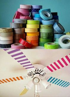 Easy DIY for the kid's room: Decorate the fan with washi tape! They will love the way it looks as it spins! (need to find and figure out what washi tape is) Ideas Paso A Paso, Fun Crafts, Diy And Crafts, Tape Crafts, Room Crafts, Do It Yourself Baby, Do It Yourself Inspiration, Do It Yourself Furniture, Ideias Diy