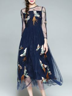 #AdoreWe #StyleWe Designer Midi Dresses - Designer SLDR Dark Blue Swing Casual Paneled Embroidery Midi Dress - AdoreWe.com