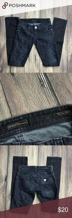 Guess Size 23 Daredevil Skinny Dark Wash Jeans Materials: 60% Cotton, 40% Polyester  Measurements (approximate)  in inches. Items are measured laying flat & not stretched.  Length: 38 Waist: 13.5 Inseam: 31.5 Rise: 6.5 Leg Opening: 6 Guess Jeans Skinny