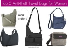 As you hit the road this summer, safety is always a concern. We've rounded up the top 5 anti-theft travel bags for women based on the top picks from the TFG readers. 1st Column: Pacsafe Sling Safe  200 GII / Pacsafe City Safe 100 GII 2nd Column: Travelon Anti-theft Cross Body best seller! 3rd Column: Travelon Anti-theft Messenger Bag / Timbuk2 Harriet Shoulder Bag
