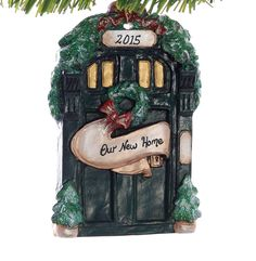 Personalized New Home Christmas Ornament  Rustic Weathered Front