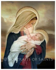 Madonna and Child (F) Catholic Art Print Blessed Virgin Mary, Baby Jesus... via pinterest