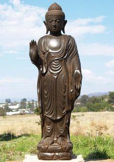 """Stone Standing Garden Buddha Statue 62"""""""