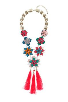 Layered Flower Tassel Necklace - Jewellery  - Bags & Accessories