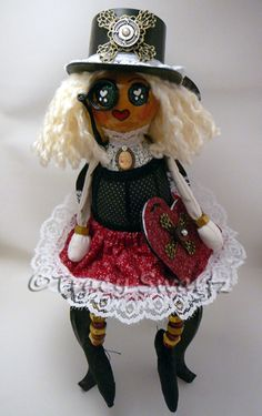 (SOLD) Steampunk Anney is here!  She is the second doll in the Raggedy Gourd Doll series.  Like all Soul Heart Dolls, she has a special message to share!