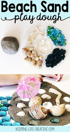 Don't wait for vacation to play in the sand! This beach sand play dough is squishy and gritty and makes a great foundation for sensory beach scenes all year round.