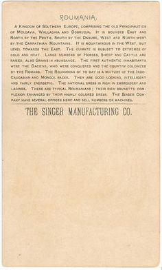 Roumania Men Singer Sewing Machine 1892 Trade Card