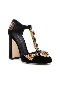 Jewel Embellished Velvet T Strap Heels