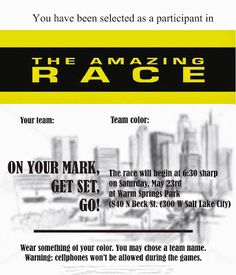2009 Amazing Race Party Clues 13 15 Pinteres
