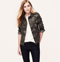 """Petite Camo Buttoned Field Jacket - A camo-cool field jacket – crafted in sleek stretch twill – definitely has our attention. Collared. Long sleeves. Button front. Button patch pockets. Button cuffs. Inverted pleat at back hem. Decorative seaming and topstitching throughout. 21 1/2"""" long."""