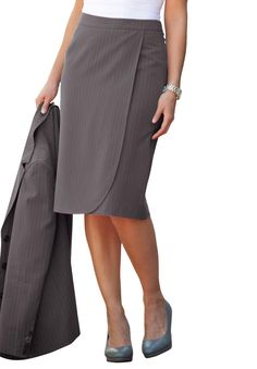 Plus Size Skirt Suit with Wrap Front image