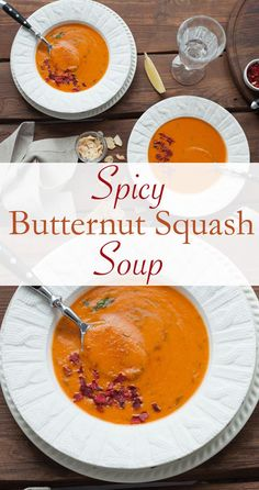 Spicy Butternut Squash Soup -- A kick of crushed pepper will wake up your taste buds and take this classic soup to a whole new level. This recipe makes enough for a family dinner or a week of meal prep. // healthy recipes // lunches // dinners // soups // fall foods // winter meals // beachbody blog