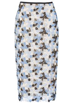 Erdem tonal blue, black and ivory guipure lace midi skirt Grosgrain trim, back vent, blush lining Exposed zip fastening at back 100% polyester; lining: 100% silk