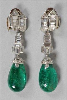Art Deco diamond and emerald earrings by Suzanne Belperron.