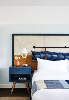 A Napa Valley Motor Lodge Reinterprets the Classic Roadside Motel - Photo 3 of 8 - Three-hundred thread count sheets provide a good night's sleep while rain showers and Grapefruit Sage products from the onsite spa contribute to a pampered experience. Decor, Hotels Design, Bedroom Design, Bed, Interior Design, Home Decor, Room, Hotel Interiors, Hotels Room