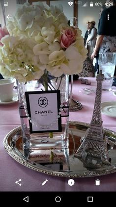 paris theme centerpieces theme centerpieces paris wedding centerpieces paris theme centerpieces them Chanel Party, Chanel Birthday Party, Paris Themed Birthday Party, Birthday Party Themes, Paris Themed Parties, Spa Birthday, Chanel Bridal Shower, Paris Bridal Shower, Paris Baby Shower