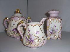 Limoges Porcelain Grn Star Mark Hand Painted Plate Violets Tea Service Pieces