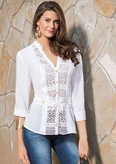 Risultati immagini per blusas de kriterium Blouse Styles, Blouse Designs, Dressy Tops, Long Tops, Trendy Dresses, Fashion Outfits, Womens Fashion, Blouses For Women, Couture