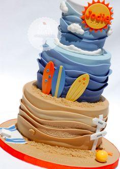 fondant cake waves
