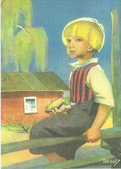 Martta Wendelin Scandinavian Art, Illustrations Posters, Vintage Illustrations, Children Images, Boy Art, Vintage Postcards, Vintage Children, Martini, Vintage Art