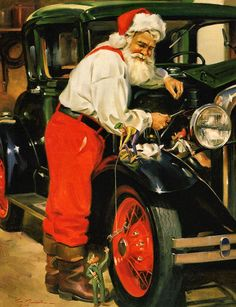 Tinker Toy by Tom Browning. Santa loves nothing more than working on antiques with his little buddies and this is his favorite classic car. This Santa Claus print uses the giclee printing process (f