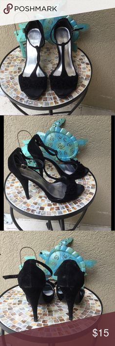 "🆕Charlotte Russe Black velvet feel ruffle heels Charlotte Russe sexy black velvet feel strappy heels. GUC  .5"" platform & 5"" heels see pix for detailed condition.  ✅I ship same or next day ✅Bundle for discount Charlotte Russe Shoes Heels"