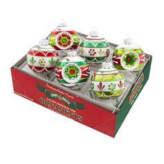 Amazon.com: Shiny Brite Holiday Splendor Set of Six 3 Inch Round Ornaments with…