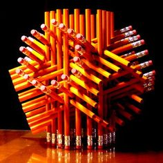 The Geometric Pencil Sculpture by makendo on Instructables is made using 72 pencils, super glue and rubber bands. Makendo was inspired by the geometric scu Geometric Sculpture, Things To Do When Bored, Sculpture Projects, Sculpture Ideas, 3d Art Projects, Math Projects, Paper Sculptures, Stuff To Do, Cool Stuff