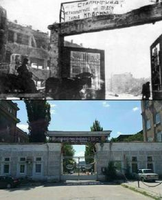 Then & Now: Main entrance to Red October tractor factory Stalingrad.