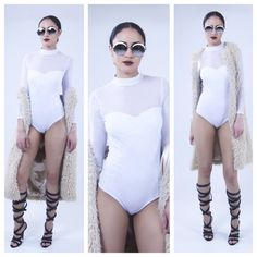 Talk that Talk Mesh Bodysuit Feeln Sassy! This  basic mesh bodysuit can go whichever way the wind blows. Pair it with our Faux Fur vest or high wasted skinny jeans and fierce boots for a chic vibe.  95% Cotton 5% Spandex Made in USA Color: White Model Size: Small The Difference Boutique  Other