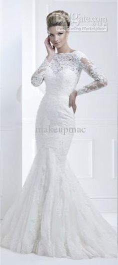 Wholesale 2013 Wedding Dress Long sleeve Lace Chapel Train Mermaid Gown Ellis 11368 D08, Free shipping, $224.0~229.6/Piece | DHgate Mobile